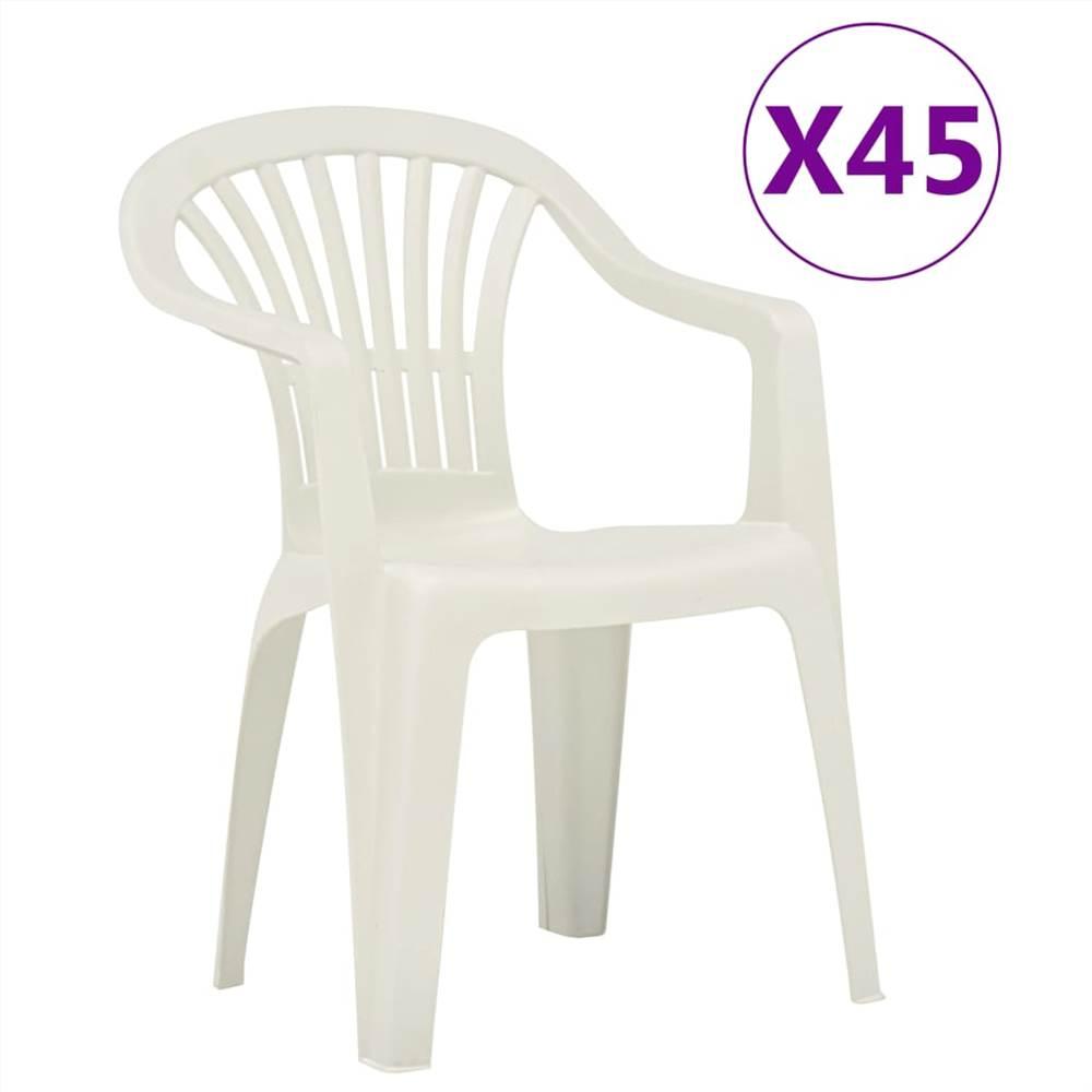 Chaises de jardin empilables 45 pcs Plastique Blanc