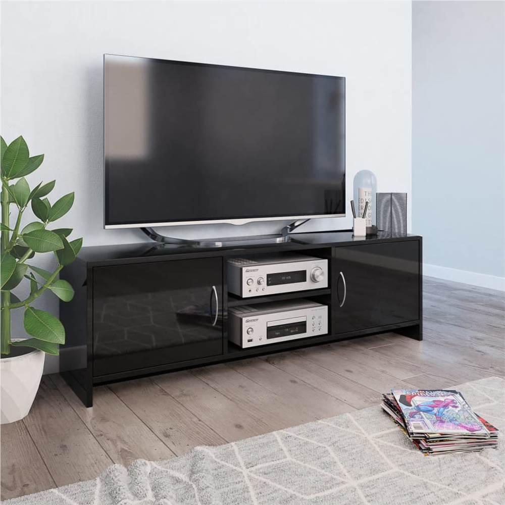Meuble TV noir brillant 120x30x37.5 cm aggloméré