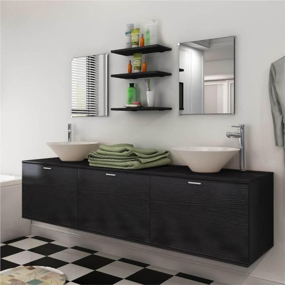 Ensemble de dix meubles de salle de bain avec lavabo et robinet noir