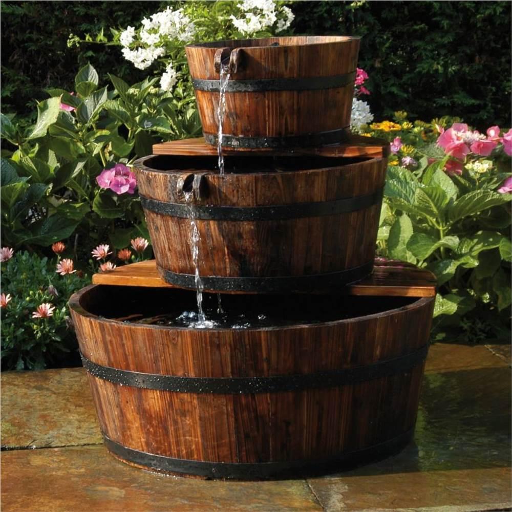 Ubbink Garden Waterfall Foutain Tonneau en bois Set 3 barils
