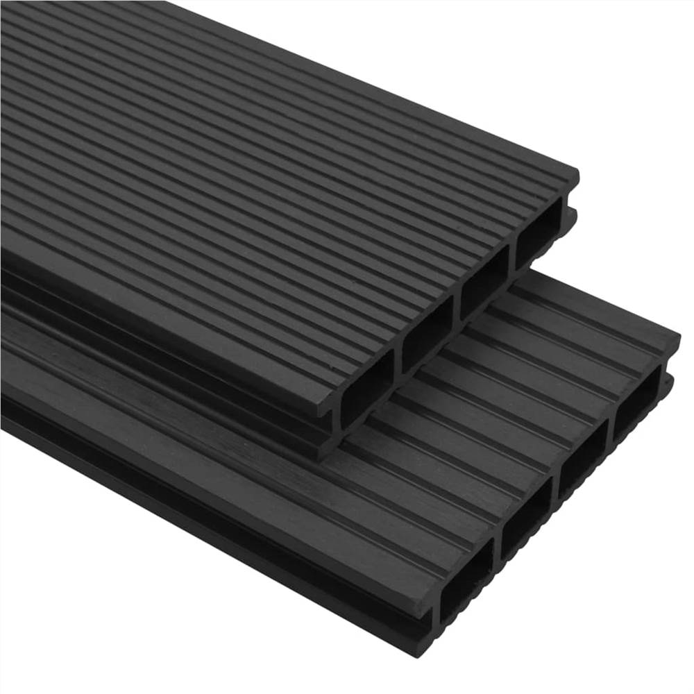 WPC Decking Boards with Accessories 25 m² 4 m Anthracite
