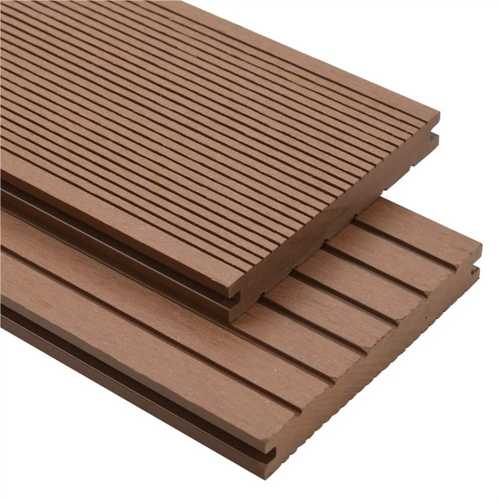 Planches de terrasse pleines WPC avec accessoires 10 m² 4 m Brun clair