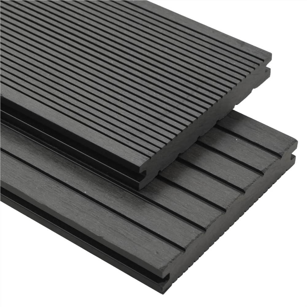 Planches de terrasse pleines WPC avec accessoires 15 m² 4 m Gris