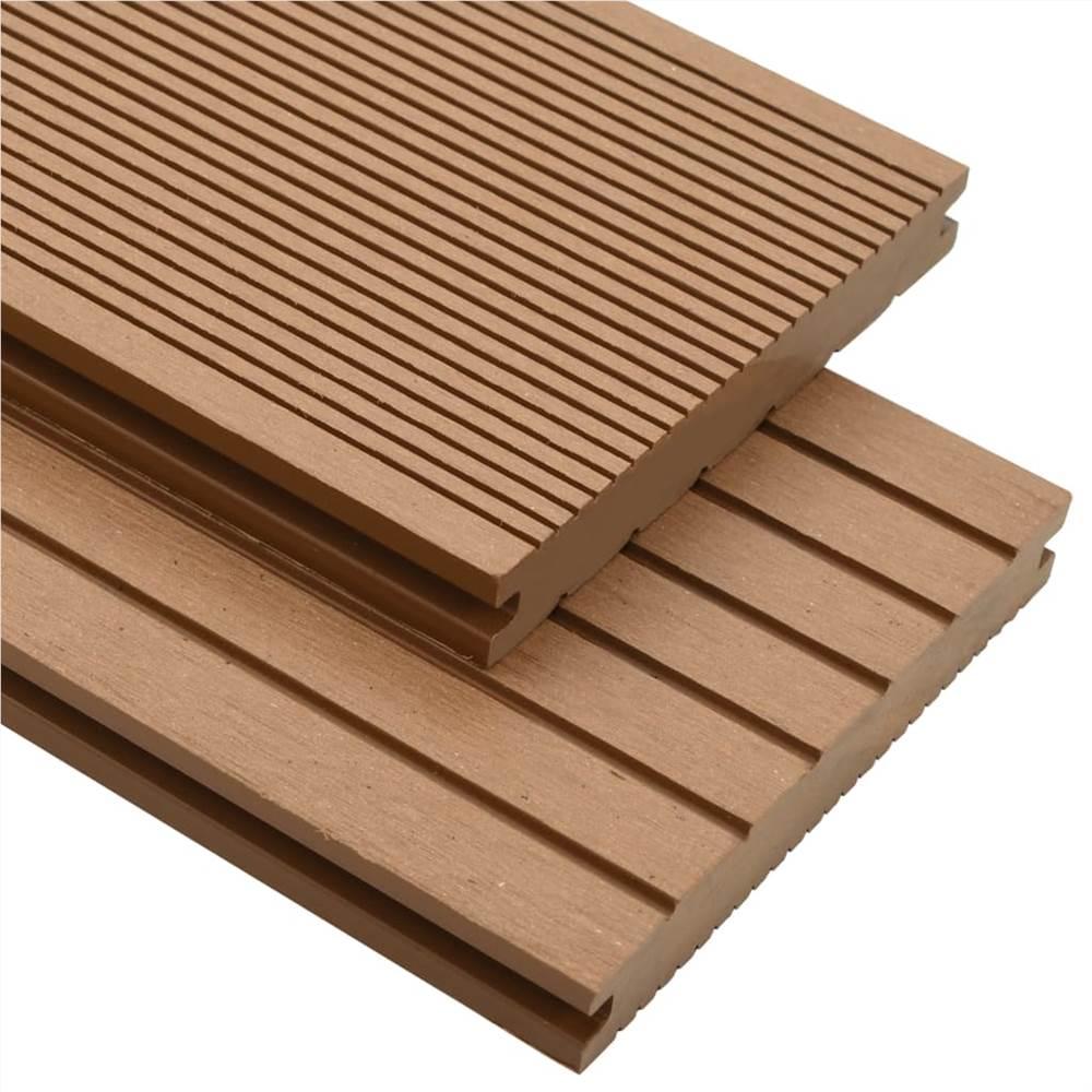 Lames de terrasse pleines WPC avec accessoires 15 m² 4 m Teck