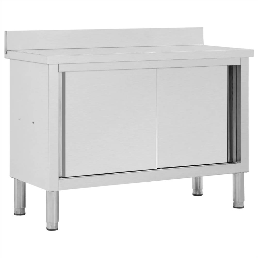 Work Table with Sliding Doors 120x50x95 cm Stainless Steel