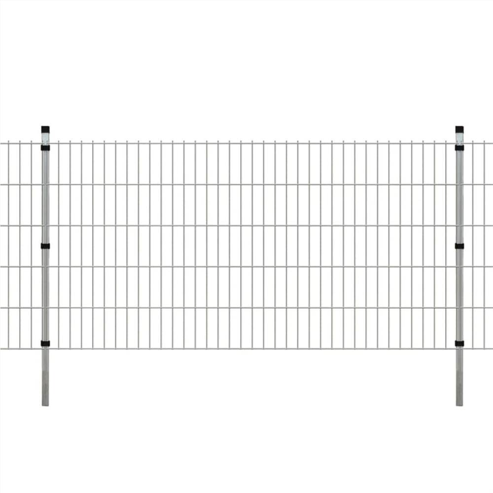 2D Garden Fence Panels & Posts 2008x1030 mm 8 m Silver
