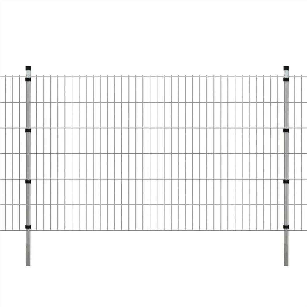 2D Garden Fence Panels & Posts 2008x1230 mm 46 m Silver