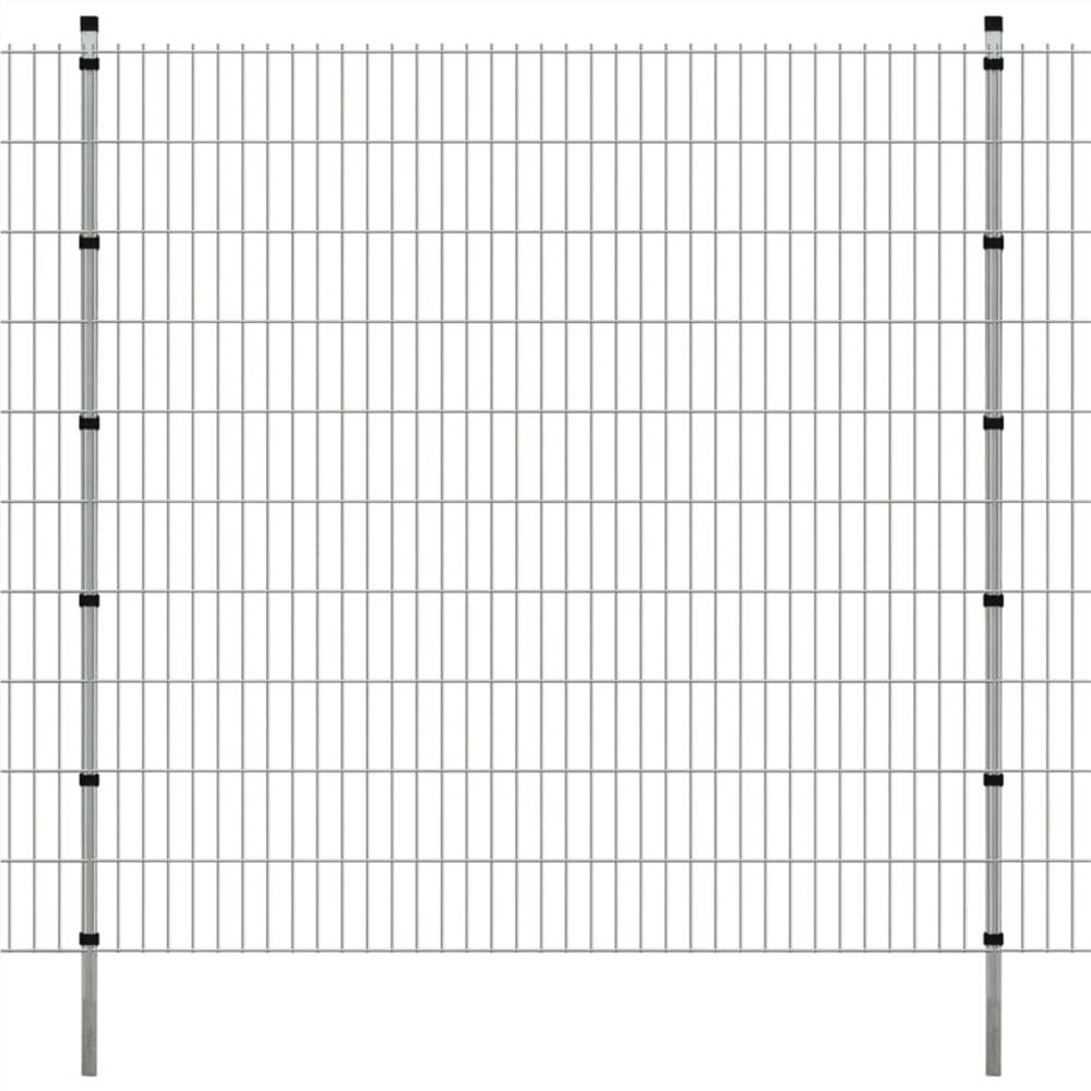 2D Garden Fence Panels & Posts 2008x2030 mm 16 m Silver