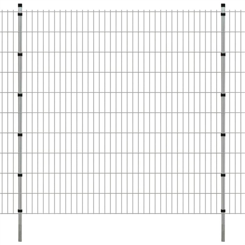 2D Garden Fence Panels & Posts 2008x2030 mm 34 m Silver
