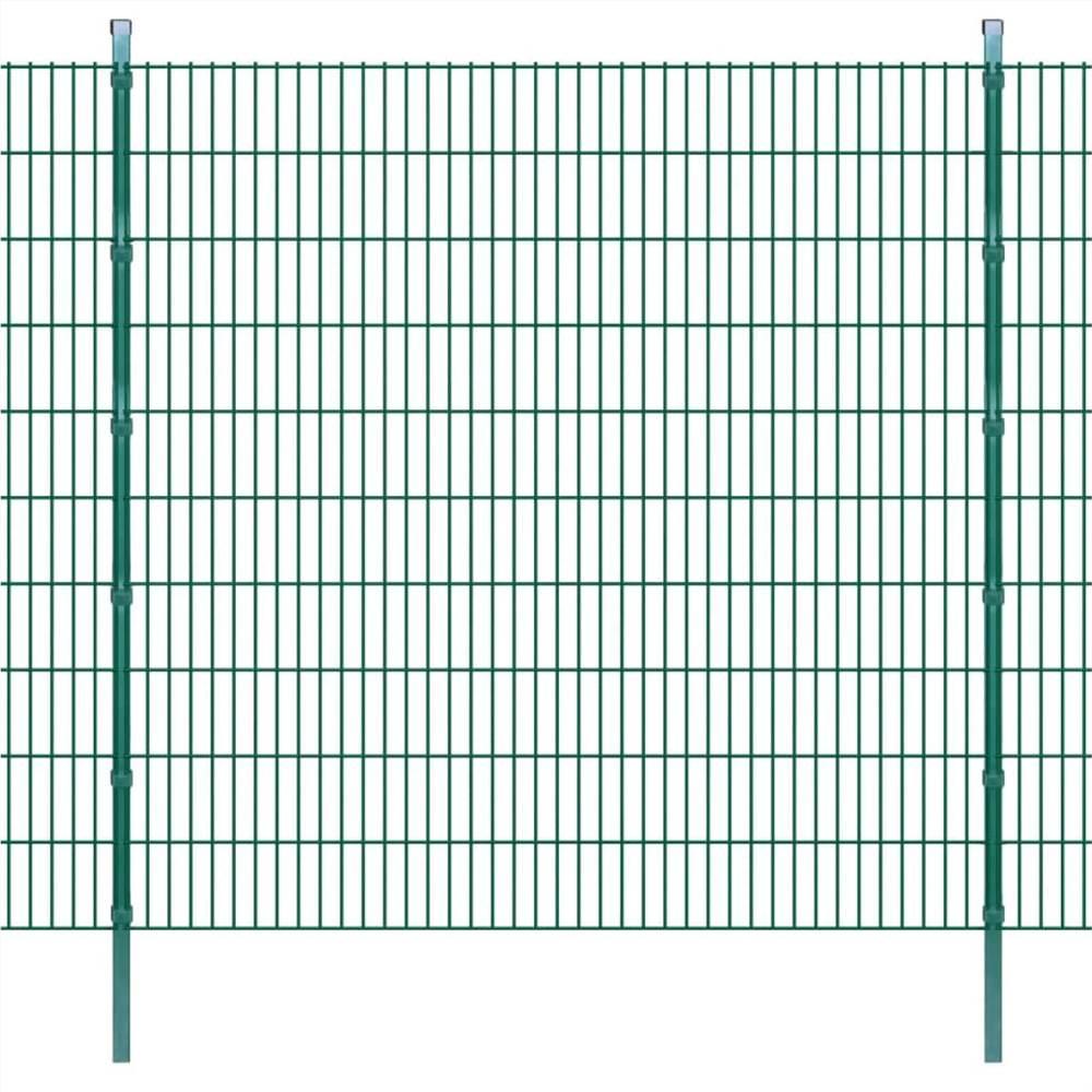 2D Garden Fence Panels & Posts 2008x2030 mm 4 m Green
