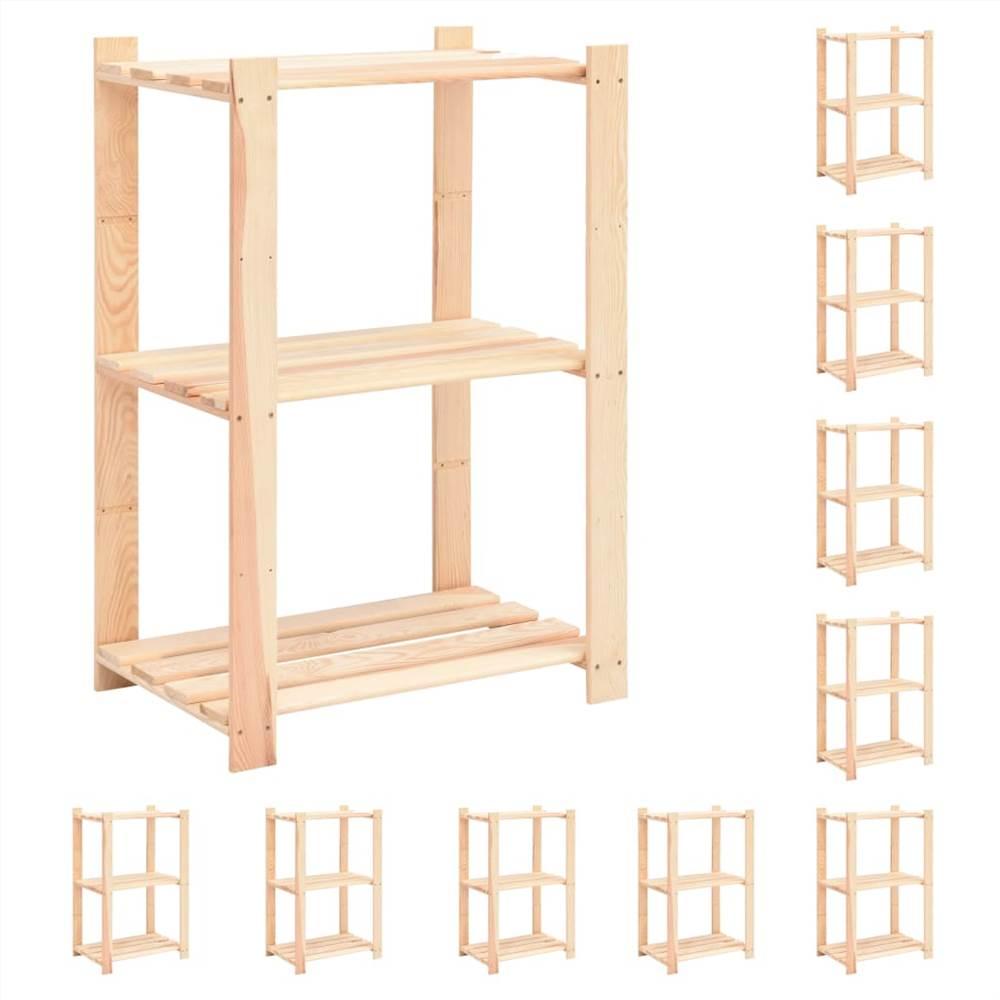 Racks de stockage à 3 niveaux 10 pcs 60x38x90 cm Pin massif 150 kg