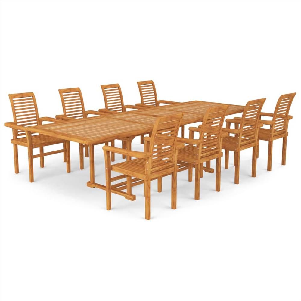Ensemble de salle à manger de jardin 9 pièces en bois de teck massif