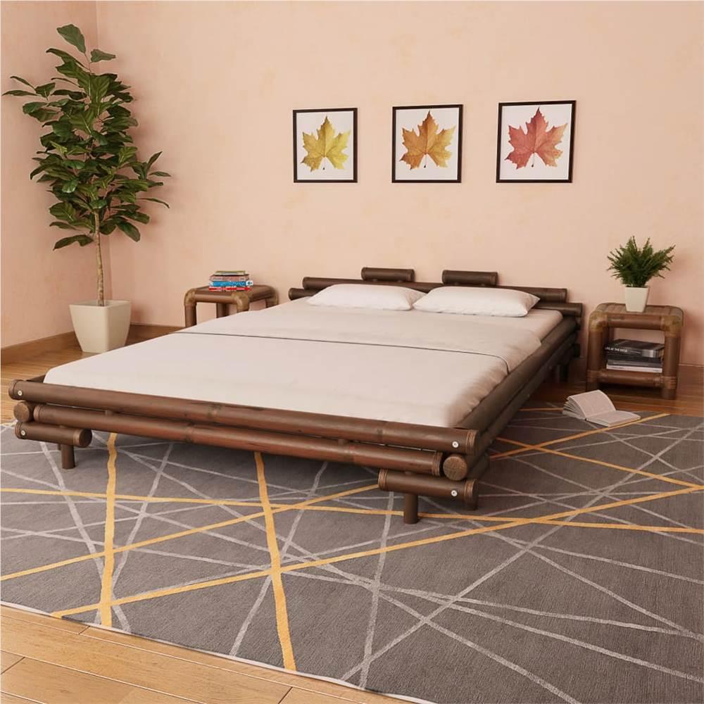 Cadre de lit Bambou marron foncé 160x200 cm