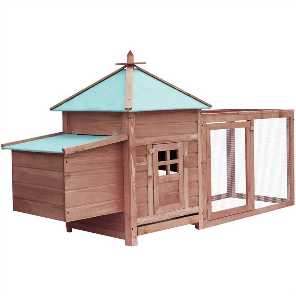 巣箱モカ付き鶏小屋193x68x104cm無垢ファーウッド