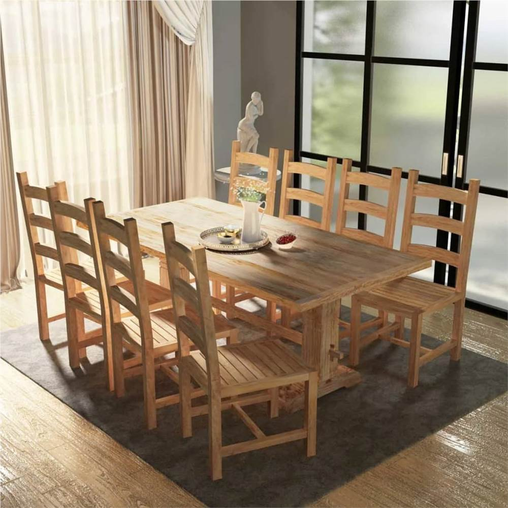 Nine Piece Massive Dining Table and Chair Set Teak