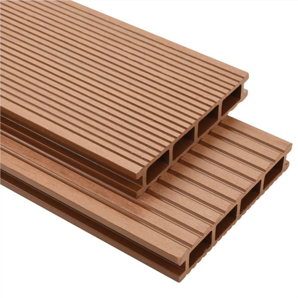 WPC Decking Boards with Accessories 25 m² 4 m Brown