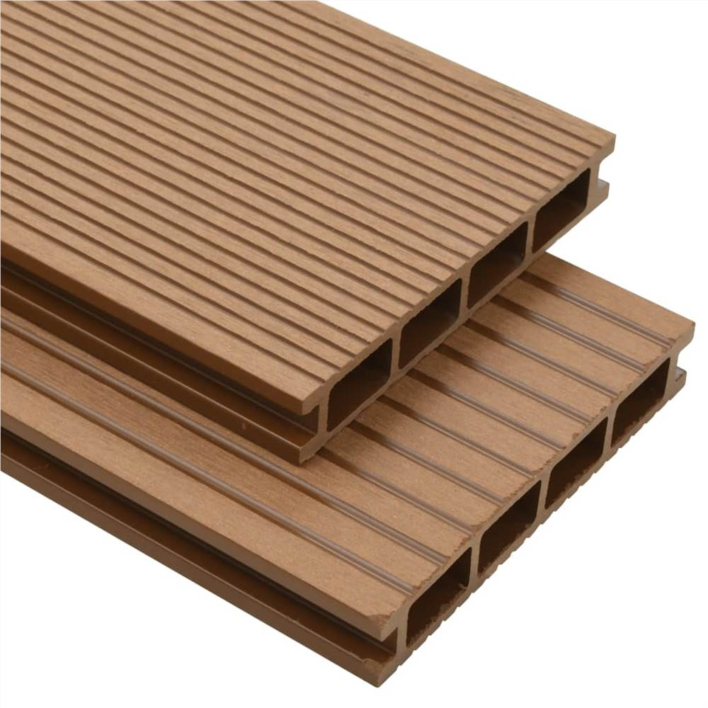 WPC Hollow Decking Boards with Accessories 25 m² 4 m Teak