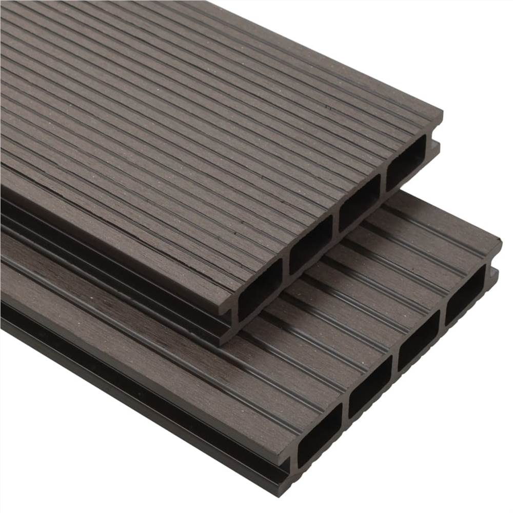 Lames de terrasse creuses WPC avec accessoires 35 m² 4 m Brun foncé