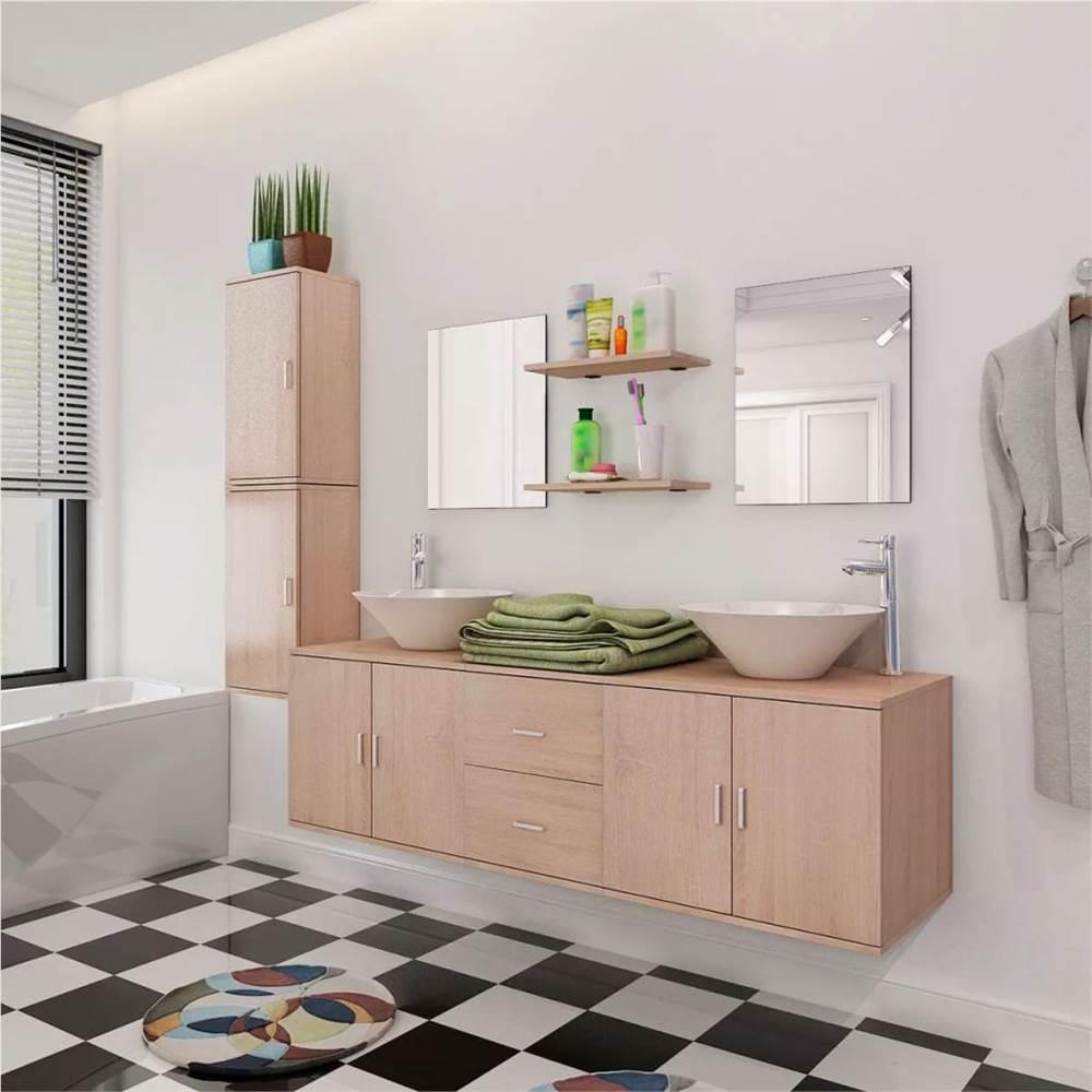 11 Stück Badmöbel Set mit Waschbecken mit Wasserhahn Beige
