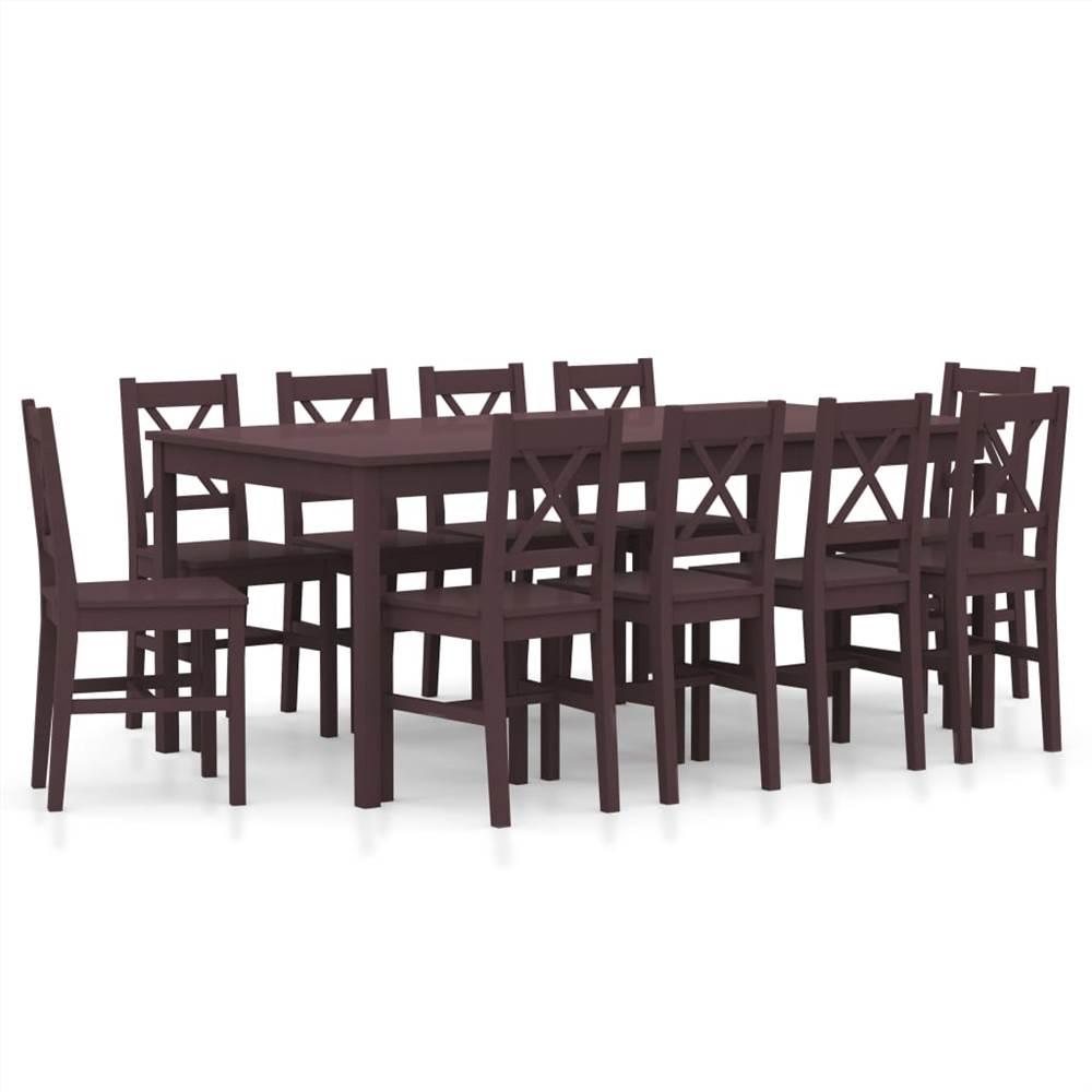 Ensemble de salle à manger 11 pièces pin brun foncé