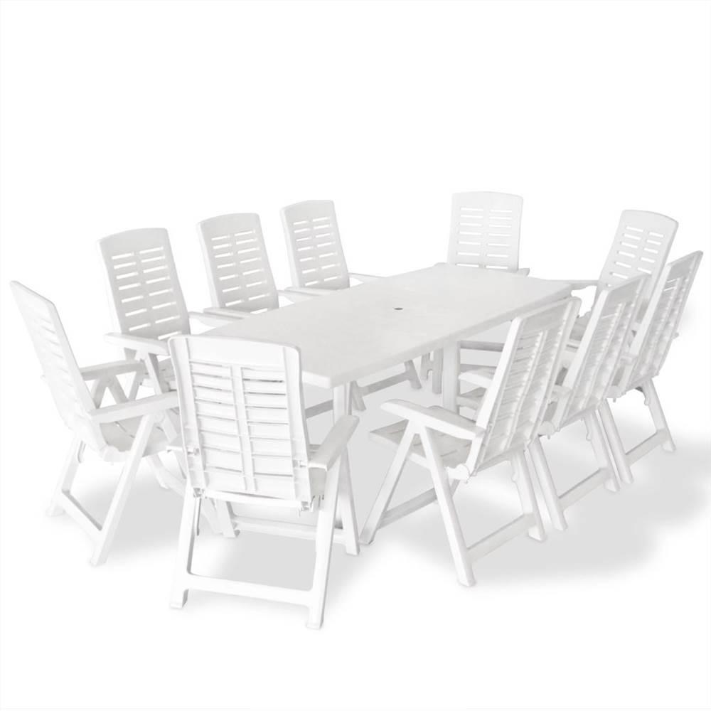 Set da pranzo da esterno 11 pezzi in plastica bianca