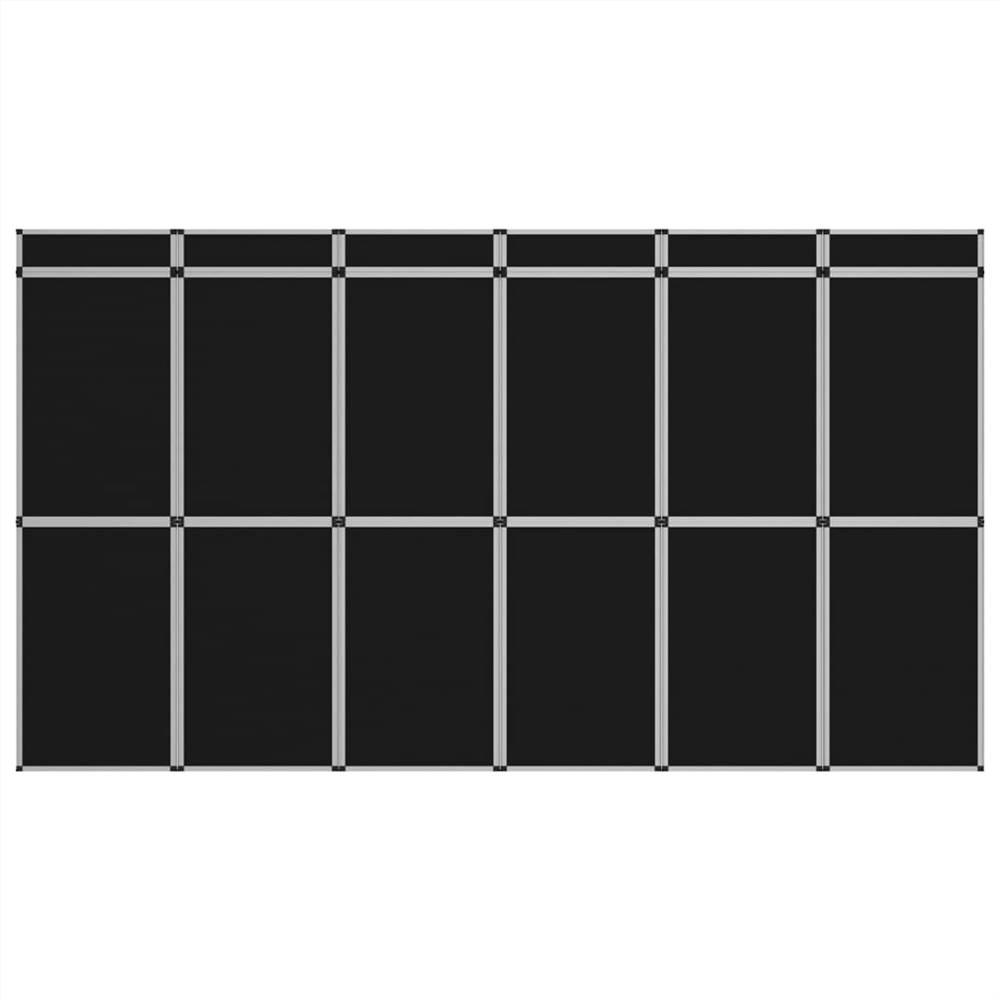 Mur d'affichage d'exposition pliable à 18 panneaux 362x200 cm Noir