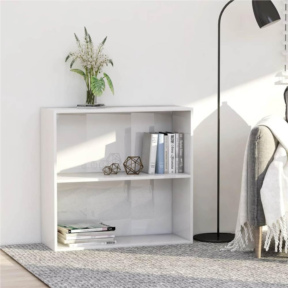 2-Tier Book Cabinet High Gloss White 80x30x76.5 cm Chipboard