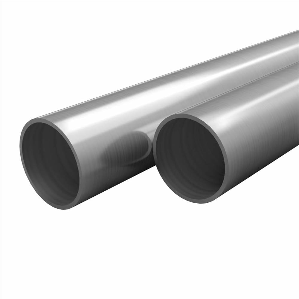 2 pcs Stainless Steel Tubes Round V2A 2m 48x1.8mm