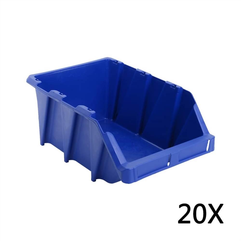 20 pcs Stackable Storage Bins 265x420x178 mm Blue