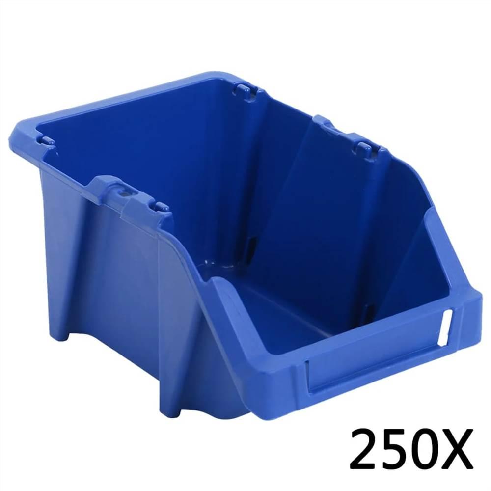 250 pcs Stackable Storage Bins 103x165x76 mm Blue