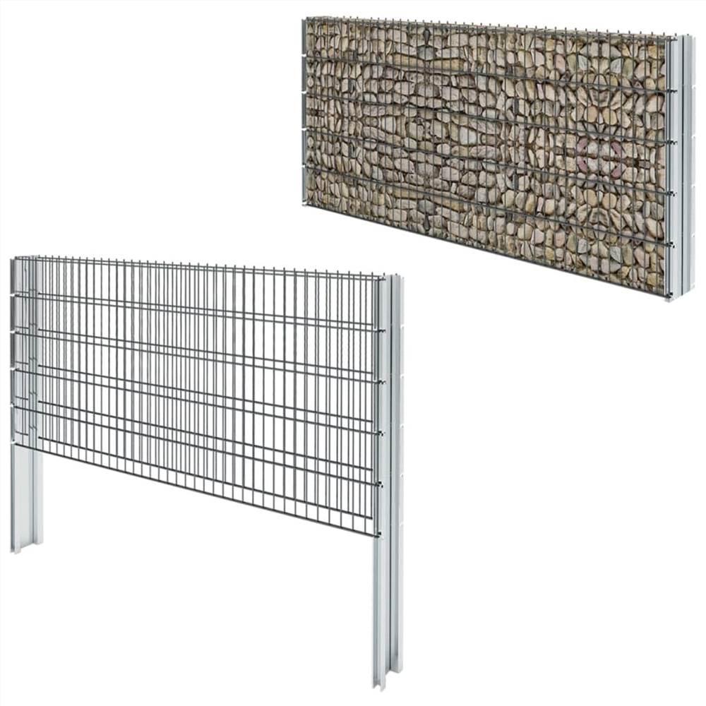 2D Gabion Fence Galvanised Steel 2.008x1.03 m 12 m (Total Length) Grey