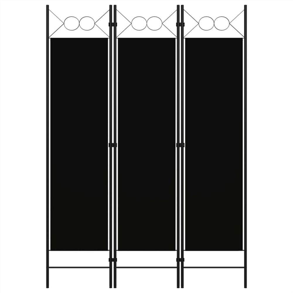 Séparateur de pièce à 3 panneaux noir 120x180 cm