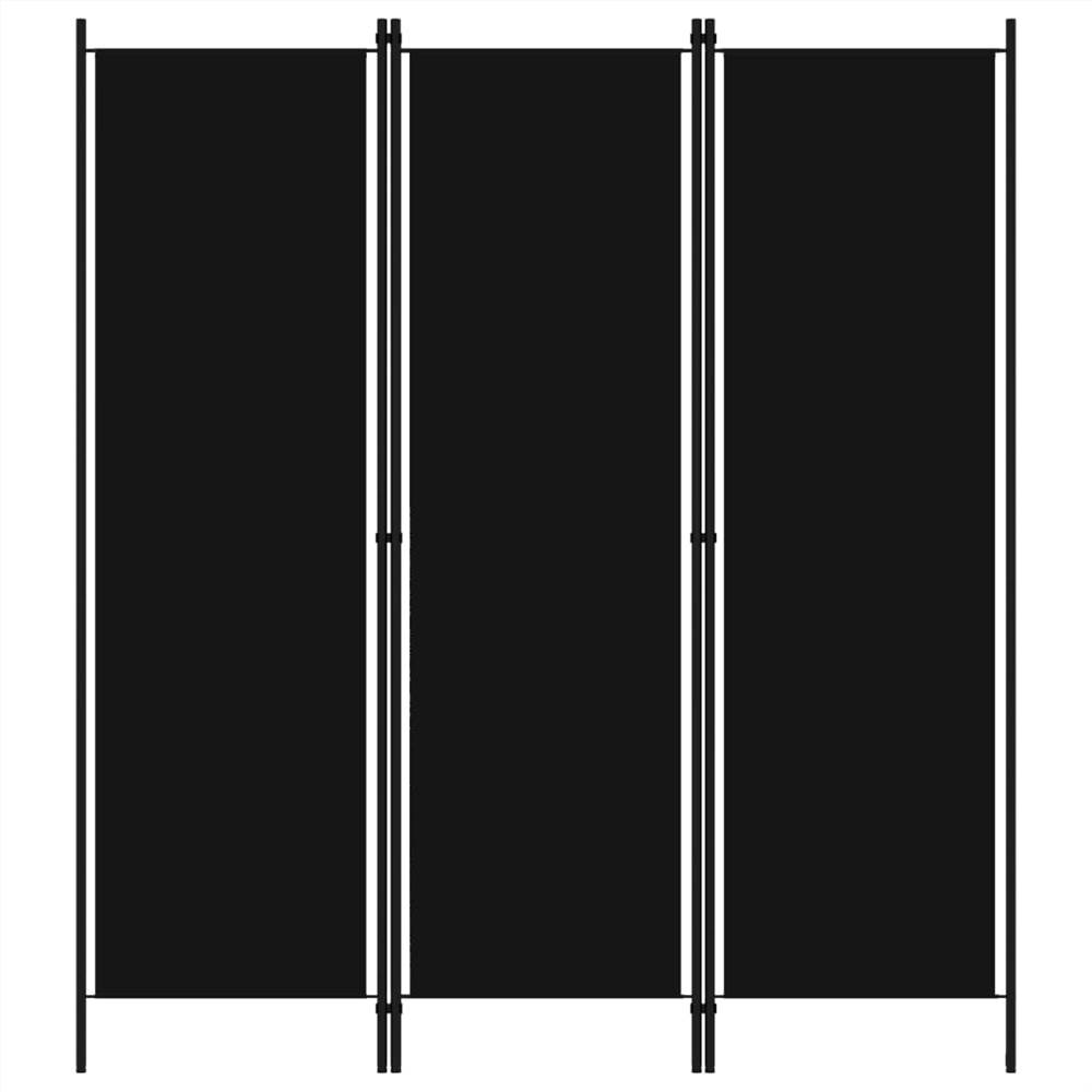 Трехпанельная перегородка, черная 3x150 см