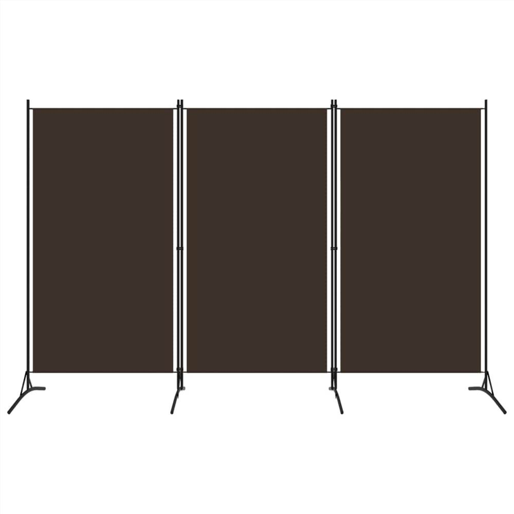 Séparateur de pièce à 3 panneaux brun 260x180 cm