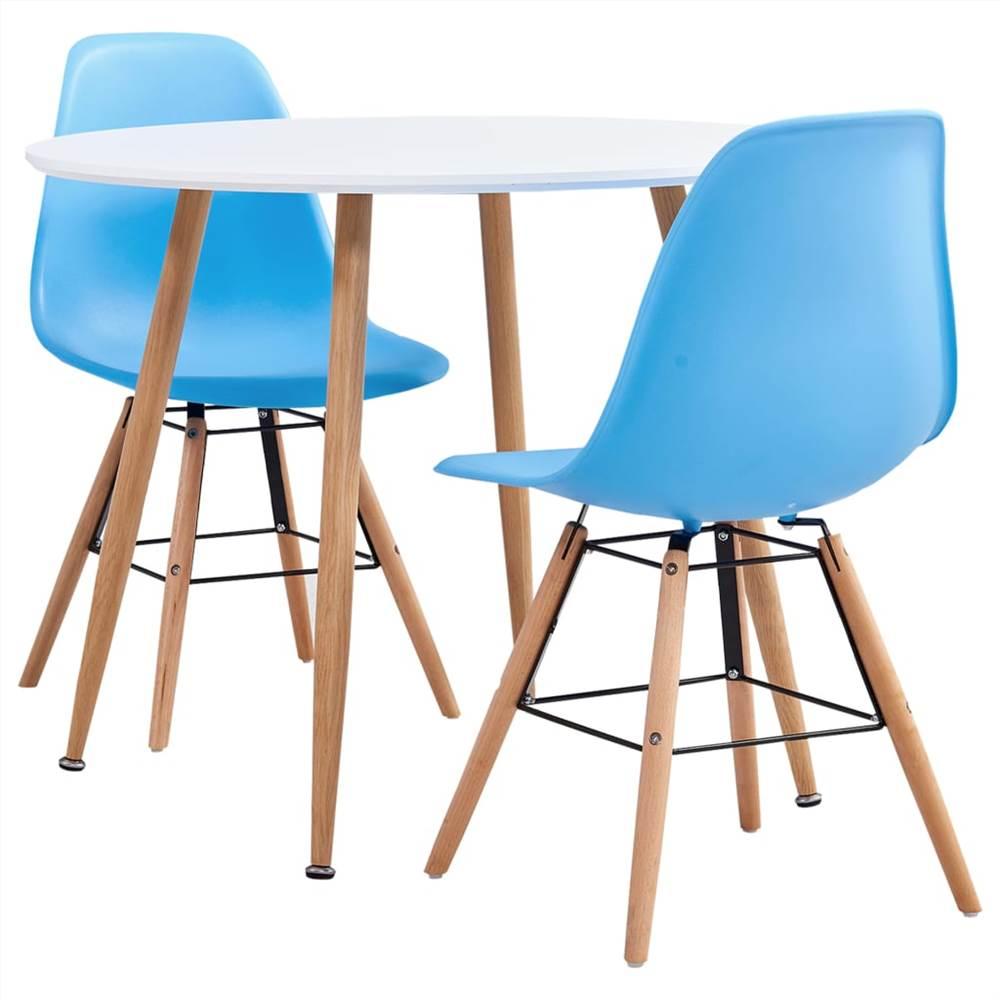 3 Piece Dining Set Plastic Blue