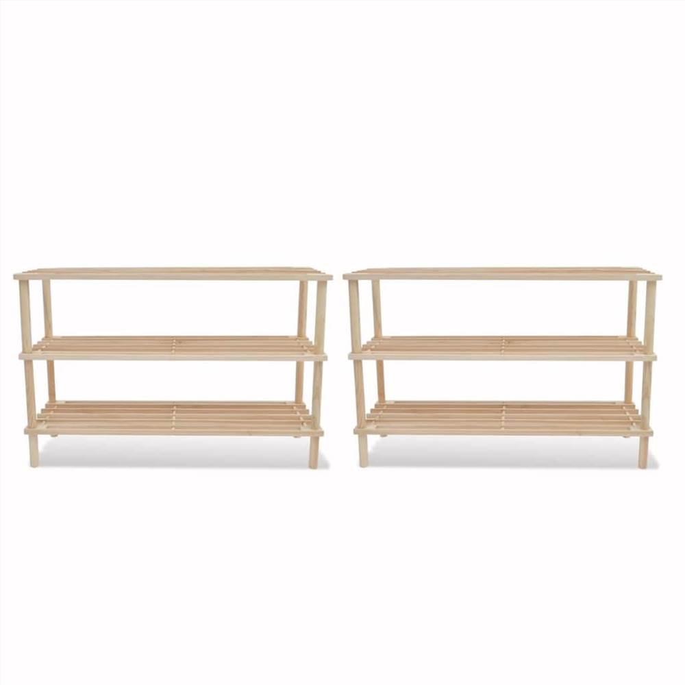 Supports à chaussures à 3 niveaux 2 pièces en bois de sapin massif