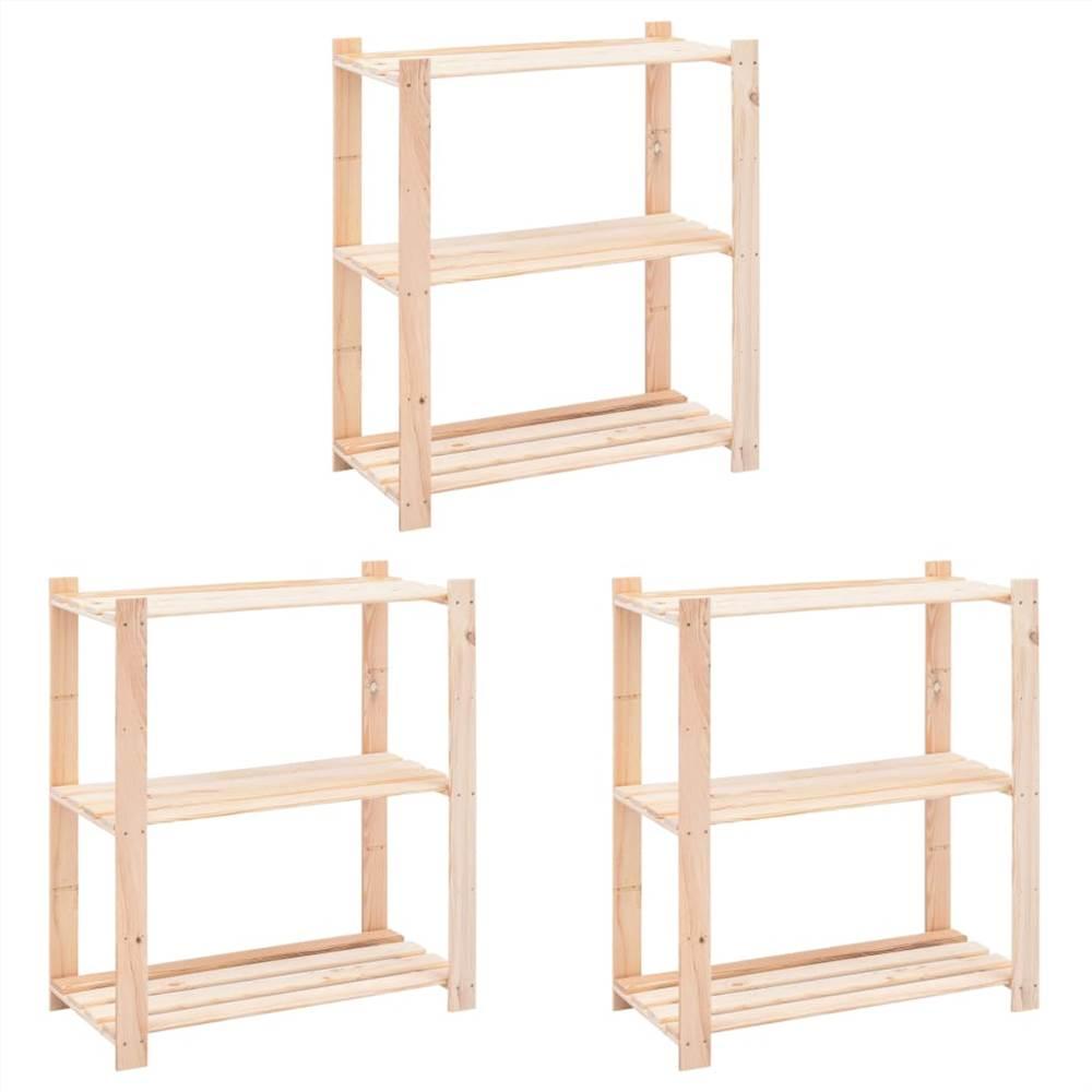 3-Tier Storage Racks 3 pcs 80x38x90 cm Solid Pinewood 150 kg