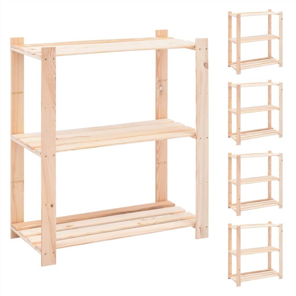 Racks de stockage à 3 niveaux 5 pcs 80x38x90 cm Pin massif 150 kg