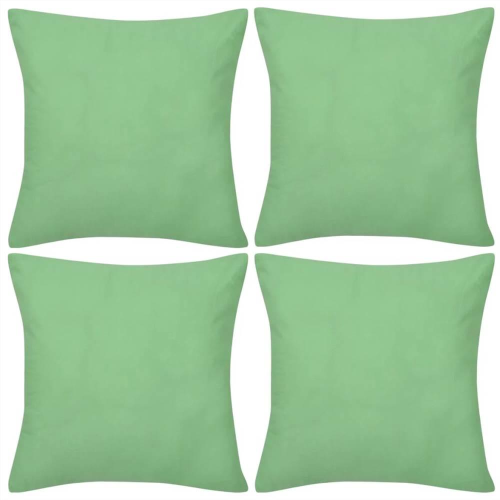 4 Apple Green Cushion Covers Cotton 80 x 80 cm