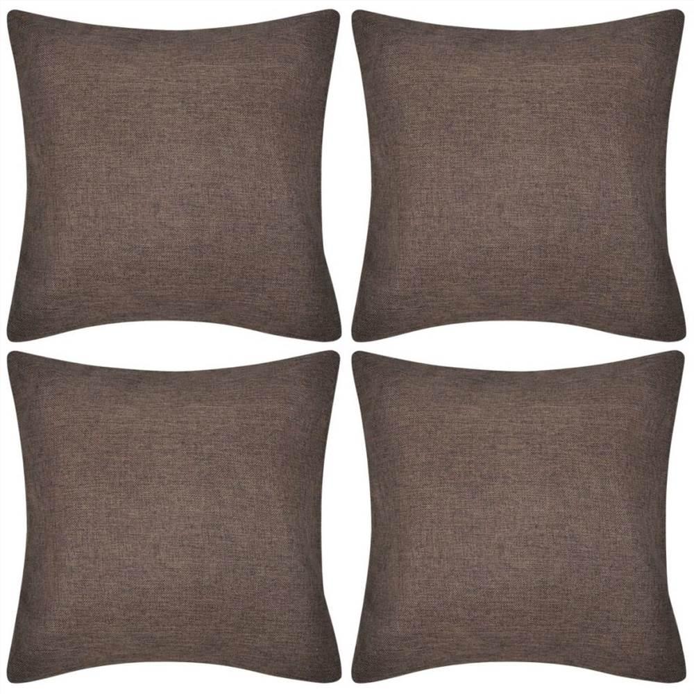 4 braune Kissenbezüge Leinenoptik 50 x 50 cm