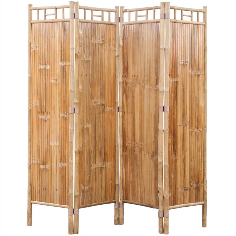 Séparateur de pièce en bambou à 4 panneaux