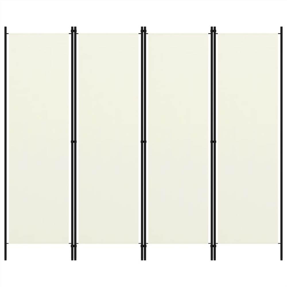 Séparateur de pièce à 4 panneaux blanc crème 200x180 cm
