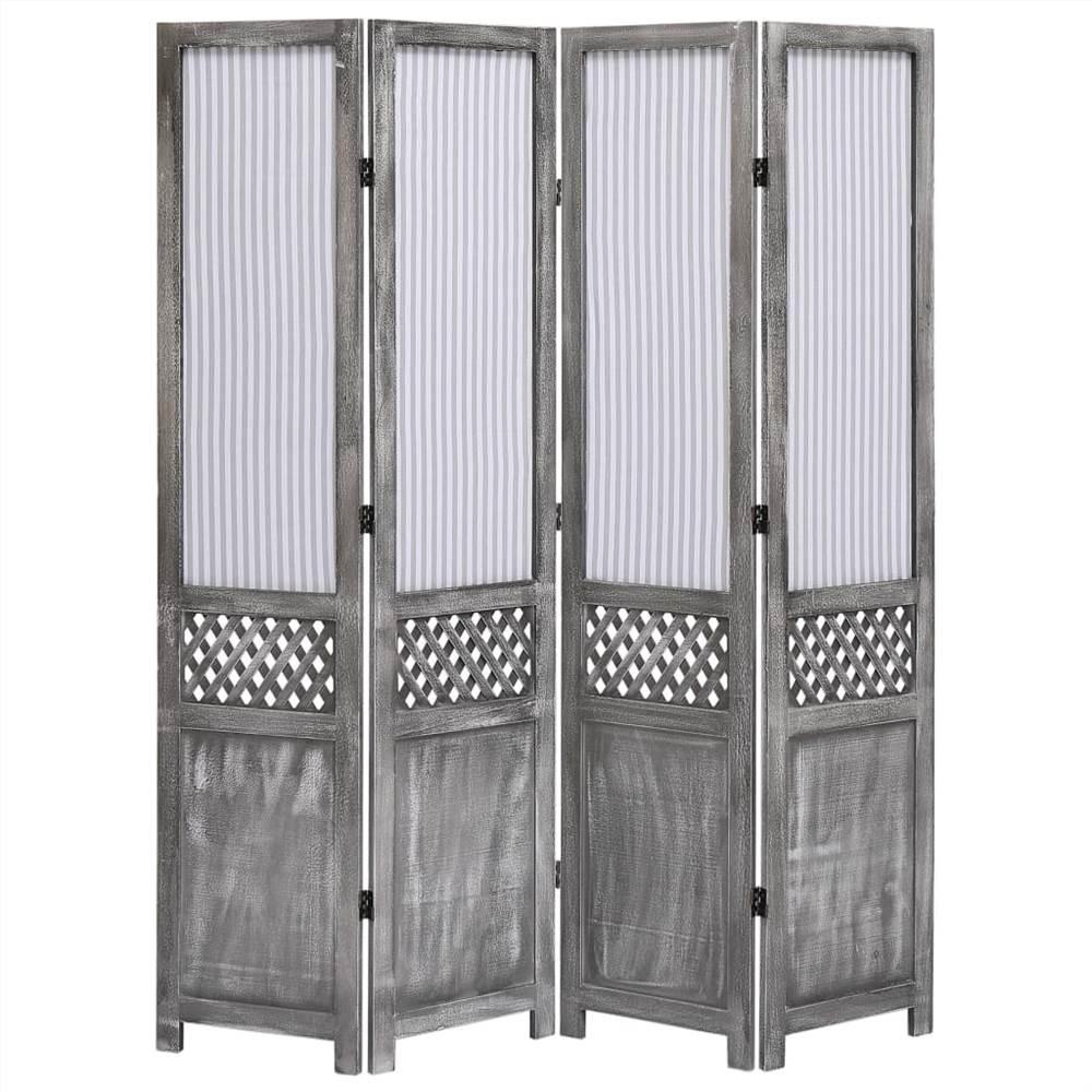 Paravent 4 panneaux tissu gris 140x165 cm