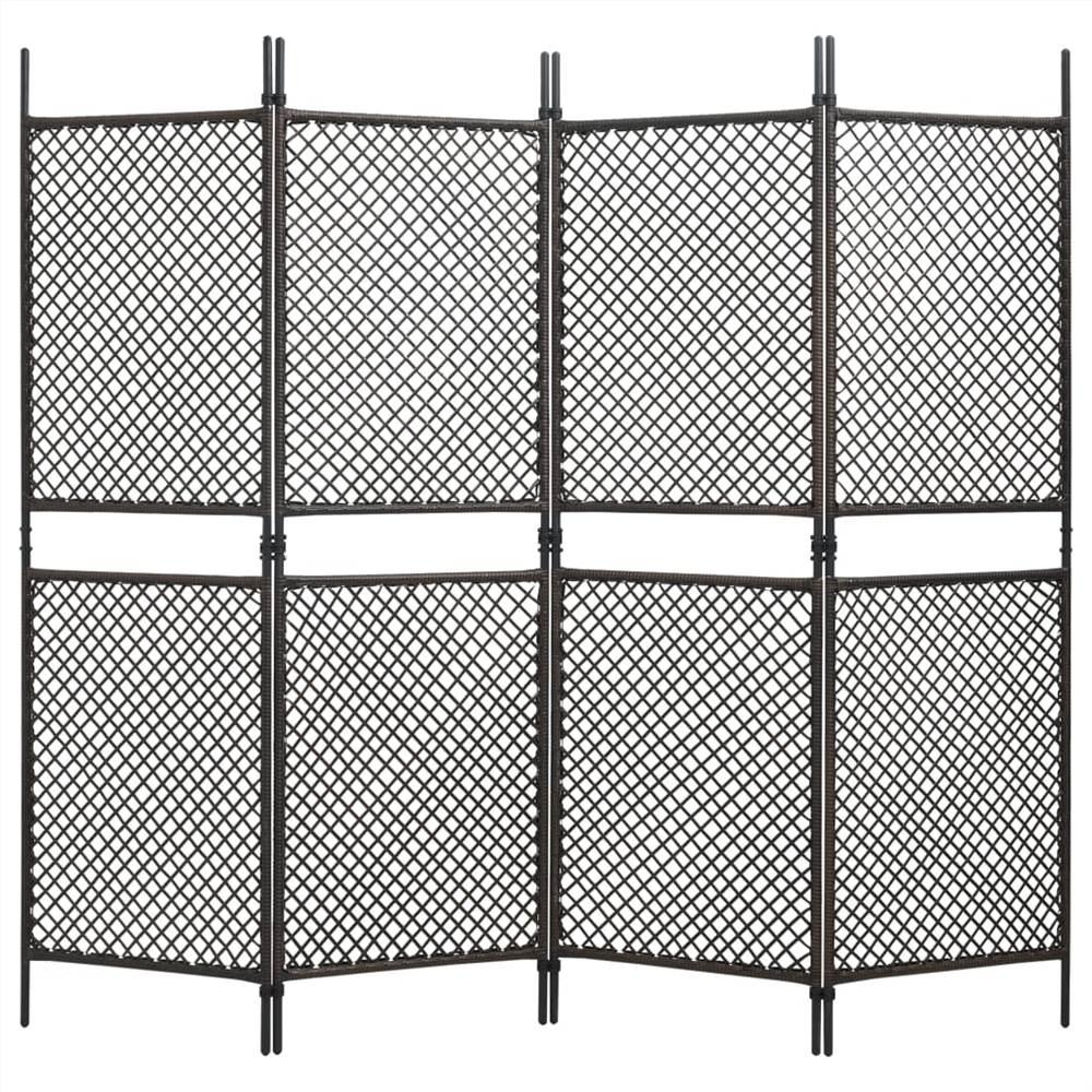 Séparateur de pièce à 4 panneaux en poly rotin brun 240x200 cm