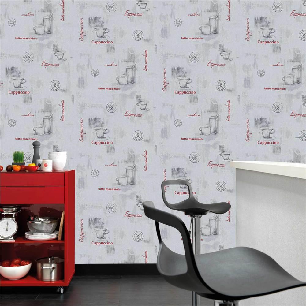 4 pcs rolos de papel de parede não tecido branco 0.53 x 10 m Café