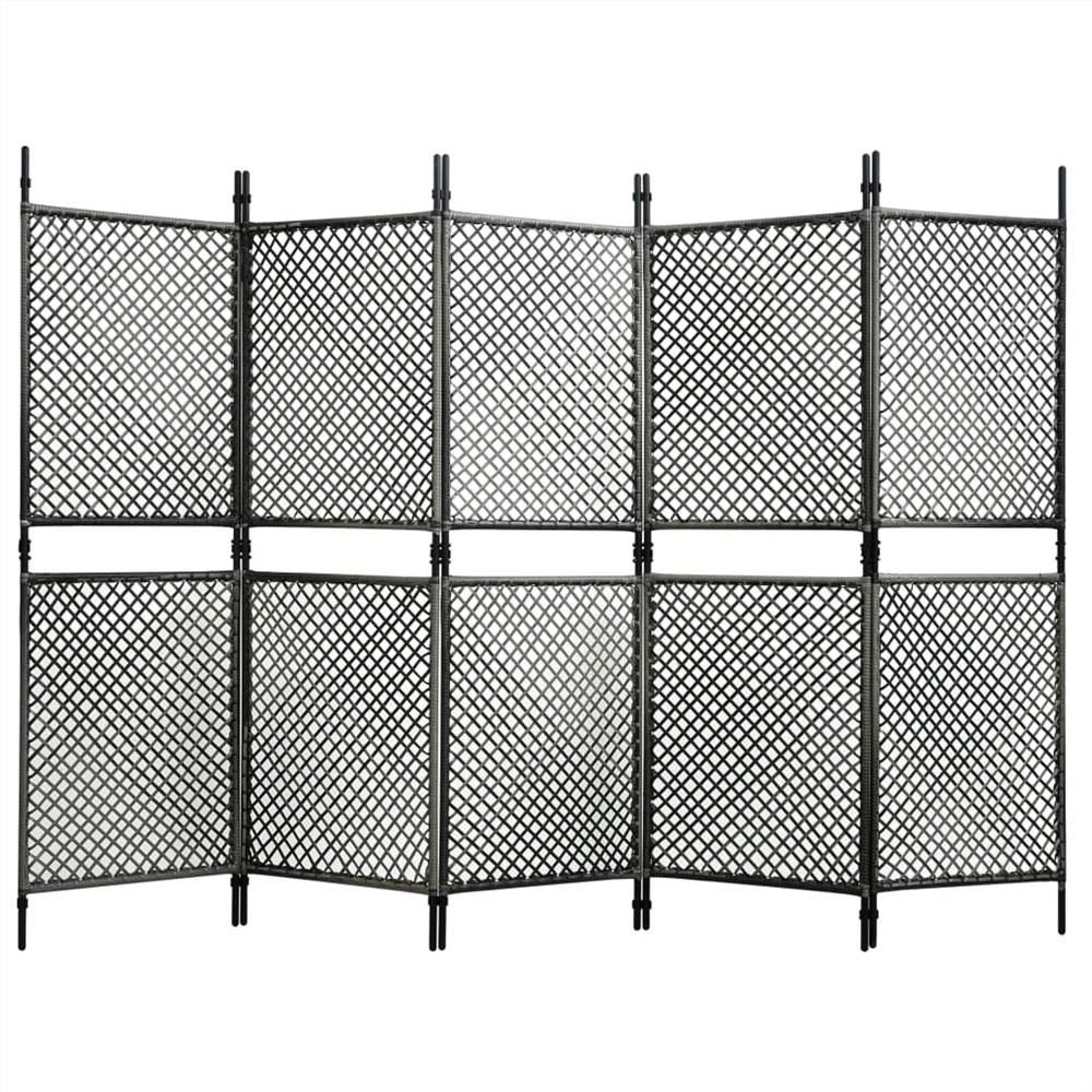 Séparateur de pièce à 5 panneaux en rotin poly anthracite 300x200 cm