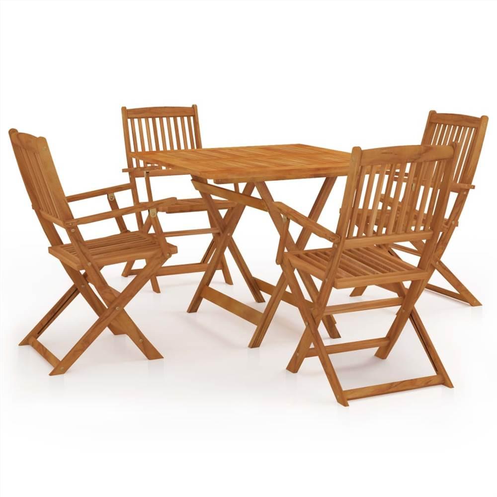 5 Piece Folding Garden Dining Set Solid Acacia Wood