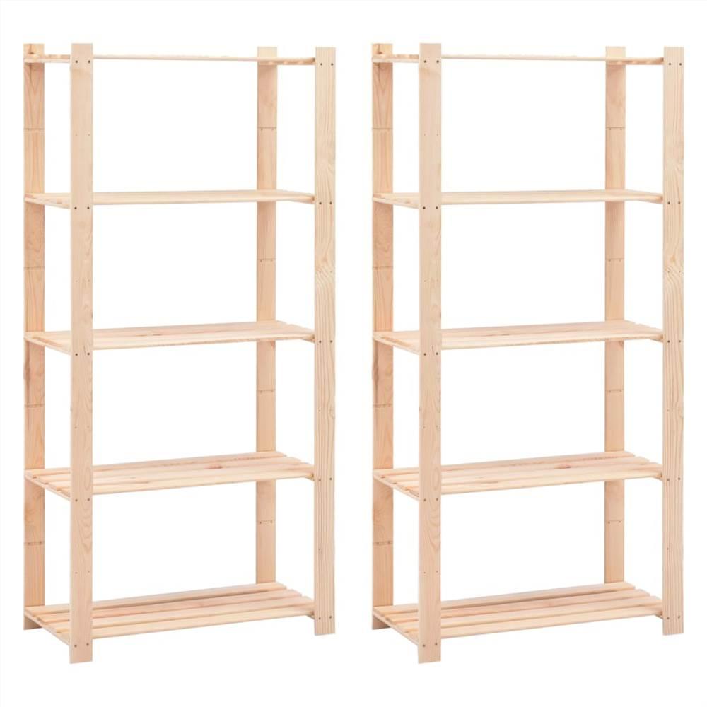 Racks de stockage à 5 niveaux 2 pcs 80x38x170 cm Pin massif 250 kg