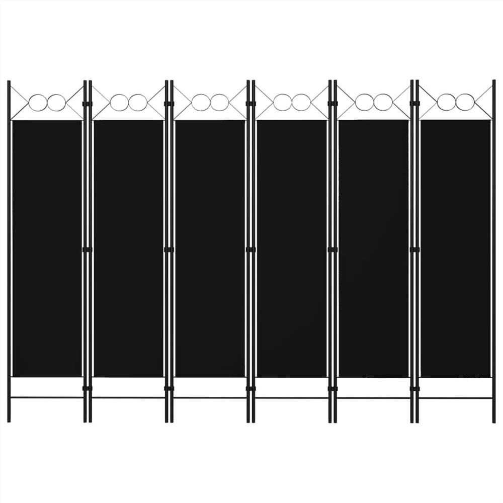 Séparateur de pièce à 6 panneaux noir 240x180 cm