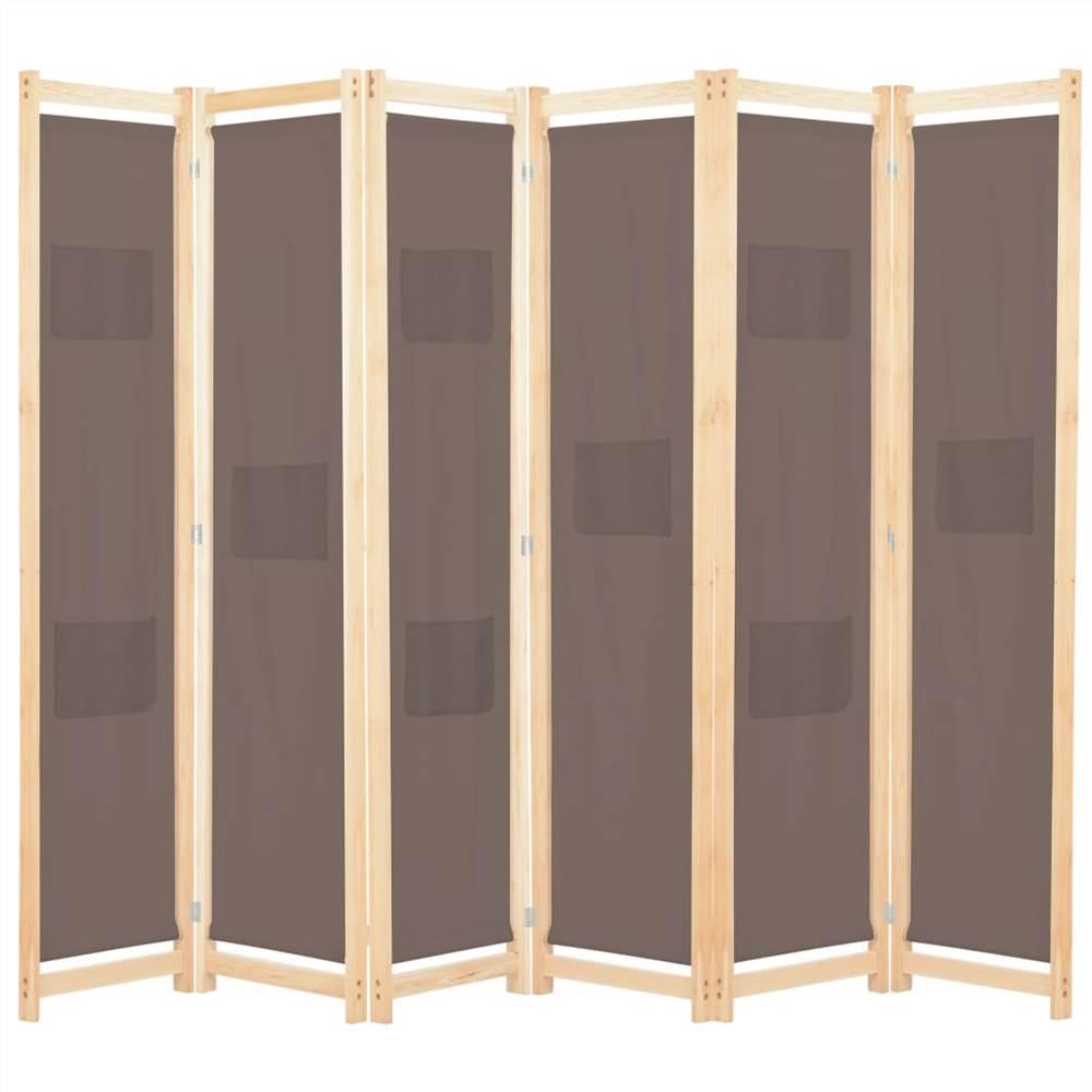 Séparateur de pièce à 6 panneaux en tissu marron 240x170x4 cm